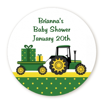 Tractor Truck - Round Personalized Baby Shower Sticker Labels