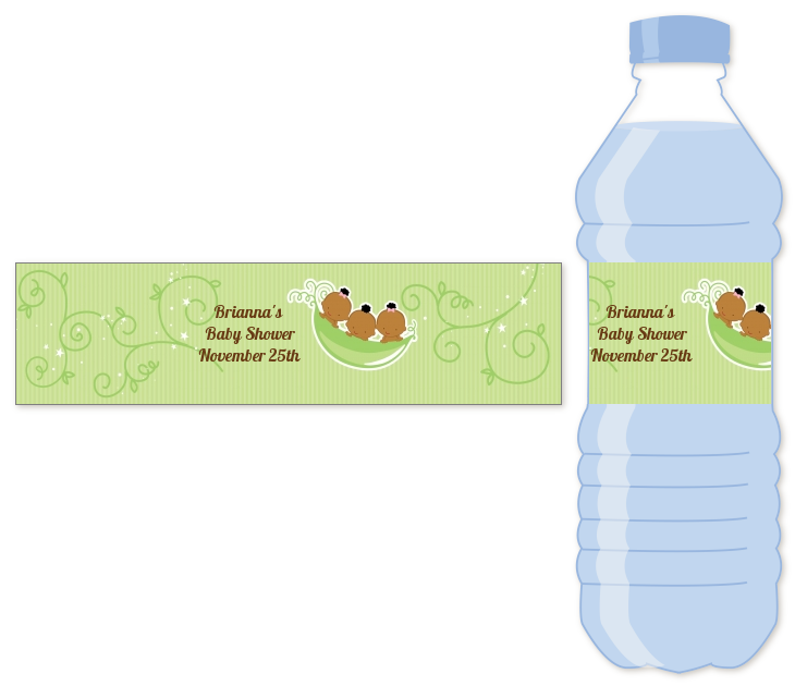 Triplets Three Peas in a Pod African American - Personalized Baby Shower Water Bottle Labels Three Boys