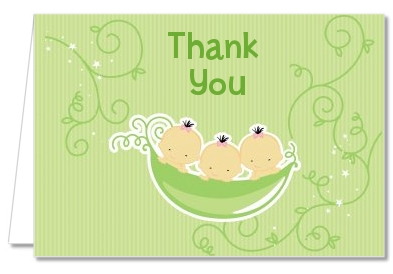 Triplets Three Peas in a Pod Asian - Baby Shower Thank You Cards 2 Boys 1 Girl