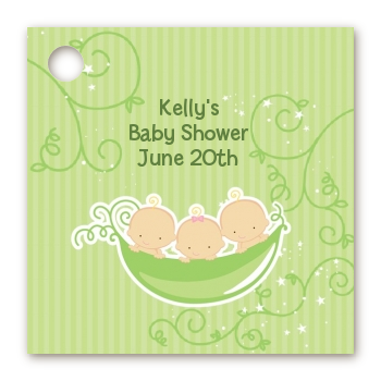 Triplets Three Peas in a Pod Caucasian - Personalized Baby Shower Card Stock Favor Tags Three Boys
