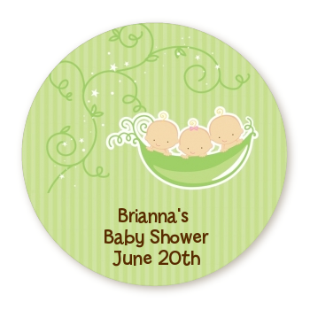 Triplets Three Peas in a Pod Caucasian - Round Personalized Baby Shower Sticker Labels Three Boys