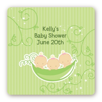 Triplets Three Peas in a Pod Caucasian - Square Personalized Baby Shower Sticker Labels Three Boys