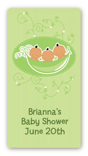 Triplets Three Peas in a Pod Hispanic - Custom Rectangle Baby Shower Sticker/Labels Three Boys