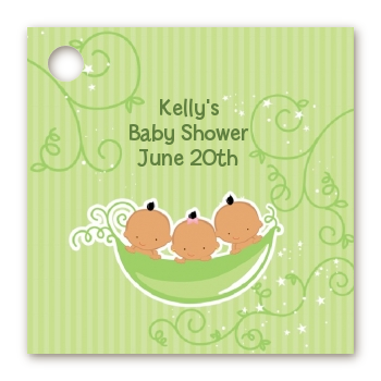 Triplets Three Peas in a Pod Hispanic - Personalized Baby Shower Card Stock Favor Tags Three Boys