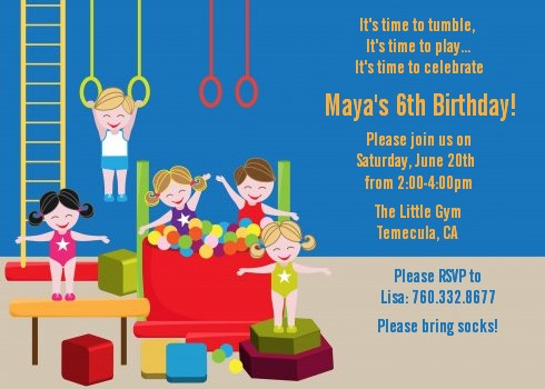 Tumble Gym Birthday Party Invitations – Gymnastics Party Invitation