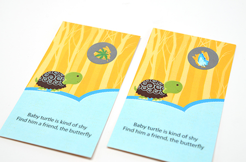 Baby Turtle Blue - Baby Shower Scratch Off Game Tickets