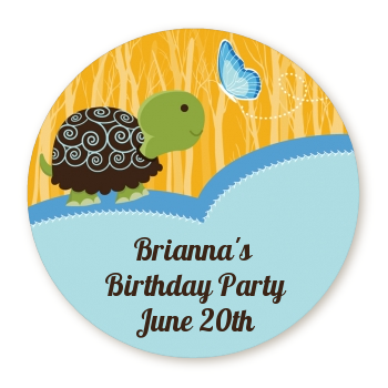 Turtle Blue - Round Personalized Birthday Party Sticker Labels