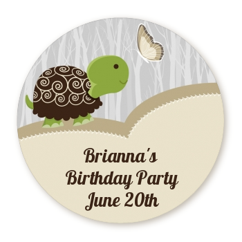 Turtle Neutral - Round Personalized Birthday Party Sticker Labels