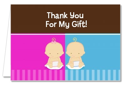twin babies 1 boy and 1 girl caucasian baby shower thank you cards