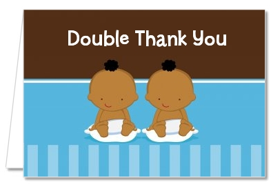 Baby Shower Thank You Cards Twin Baby Boys African