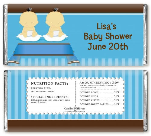 twin baby boys asian baby shower candy bar wrappers candles favors