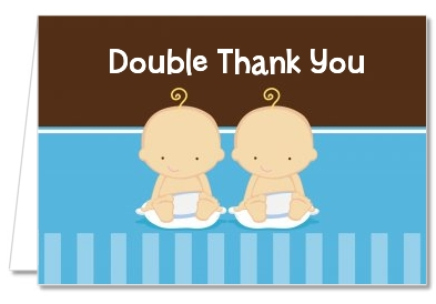 Baby Shower Thank You Cards Twin Baby Boys Caucasian Thank You Notes
