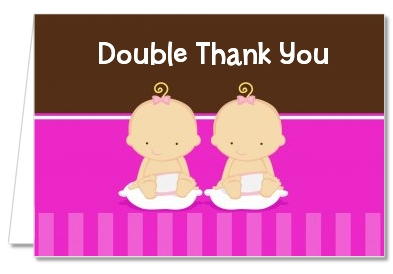 Twin Baby Girls Caucasian   Baby Shower Thank You Cards