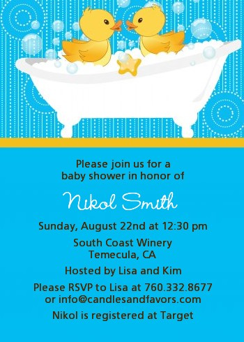 Twin Duck Baby Shower Invitations Candles And Favors