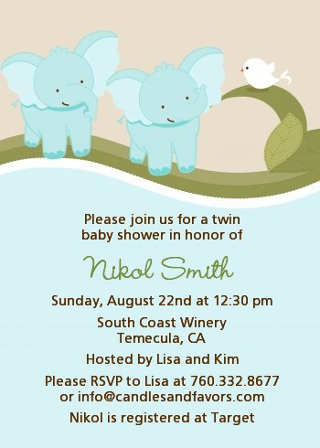 Twin Elephant Boys   Baby Shower Invitations