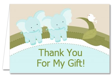 Baby Shower Thank You Cards Twin Elephant Boys Thank You Notes