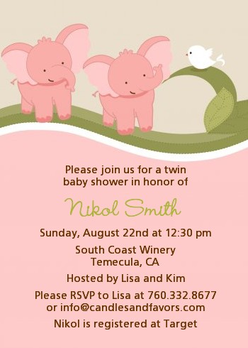 twin elephant girls baby shower invitations | candles and favors, Baby shower invitations