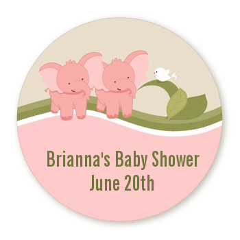 Twin Elephant Girls - Round Personalized Baby Shower Sticker Labels