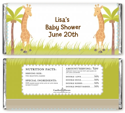twin giraffes baby shower candy bar wrappers candles favors