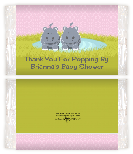 Twin Hippo Girls Baby Shower Popcorn Wrappers Baby Shower Popcorn