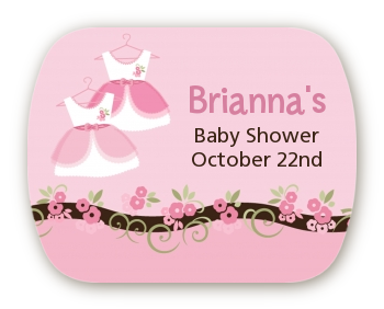 Twin Little Girl Outfits - Personalized Baby Shower Rounded Corner Stickers