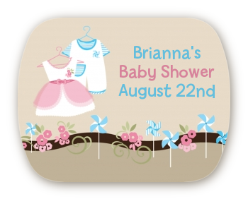 Twin Little Outfits 1 Boy and 1 Girl - Personalized Baby Shower Rounded Corner Stickers