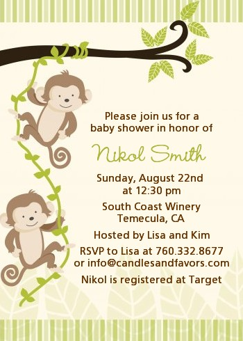 twin monkey baby shower invitations | candles and favors, Baby shower invitations