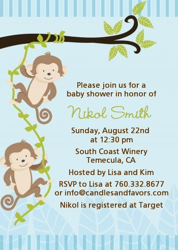 Twin Monkey Boys   Baby Shower Invitations