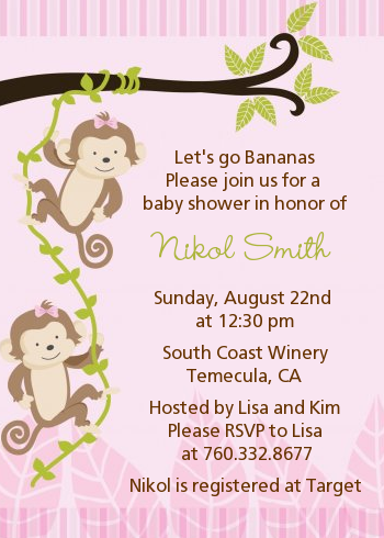 Twin monkey girls baby shower invitations candles and favors twin monkey girls baby shower invitations filmwisefo