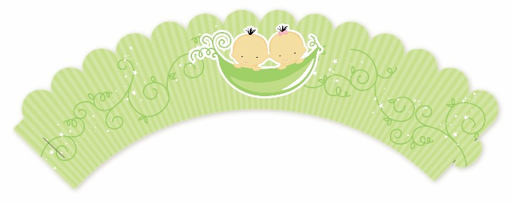 Twins Two Peas in a Pod Asian - Baby Shower Cupcake Wrappers Two Boys