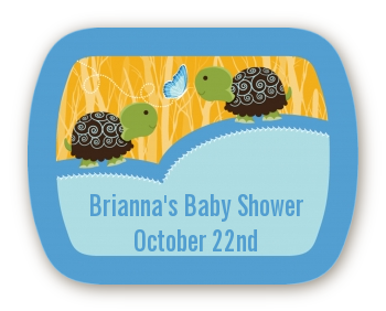 Twin Turtle Boys - Personalized Baby Shower Rounded Corner Stickers