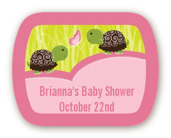 Twin Turtle Girls - Personalized Baby Shower Rounded Corner Stickers