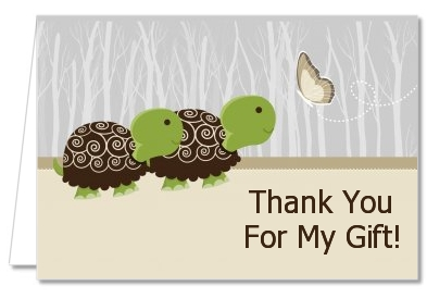 twin turtles baby shower thank you cards