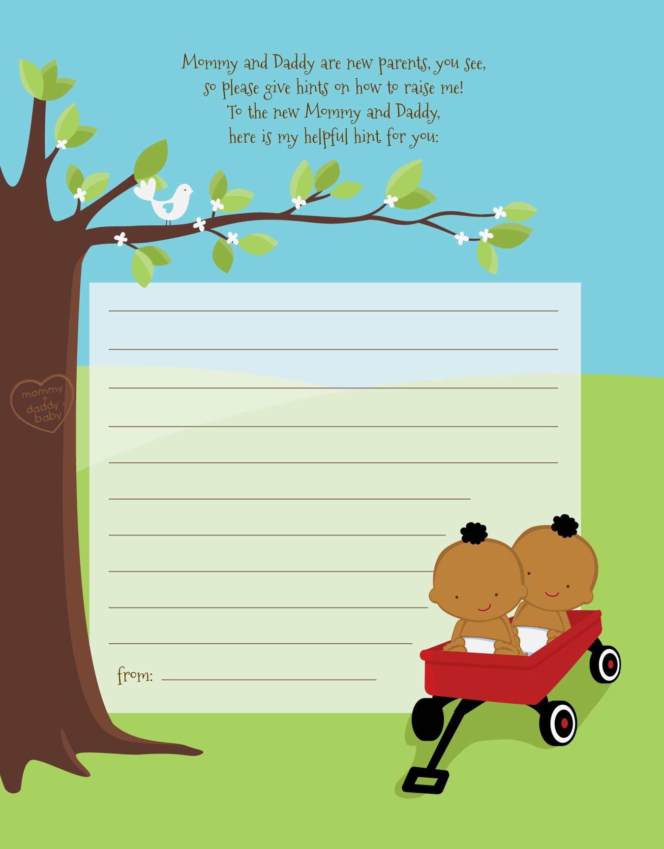Twins Little Red Wagon African American - Baby Shower Notes of Advice