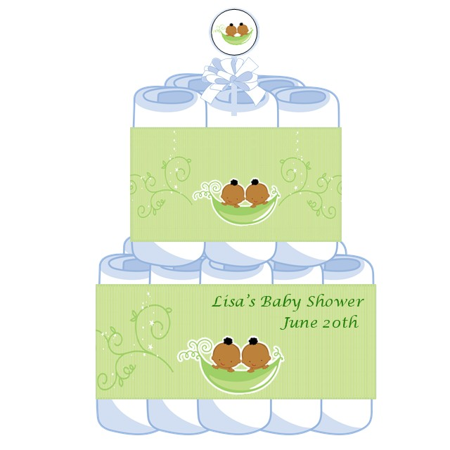 2 Tier Twins Two Peas In A Pod African American Baby Shower Diaper