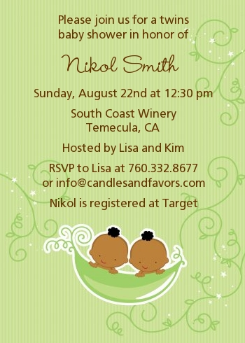 Twins Two Peas in a Pod African American Baby Shower Invitations