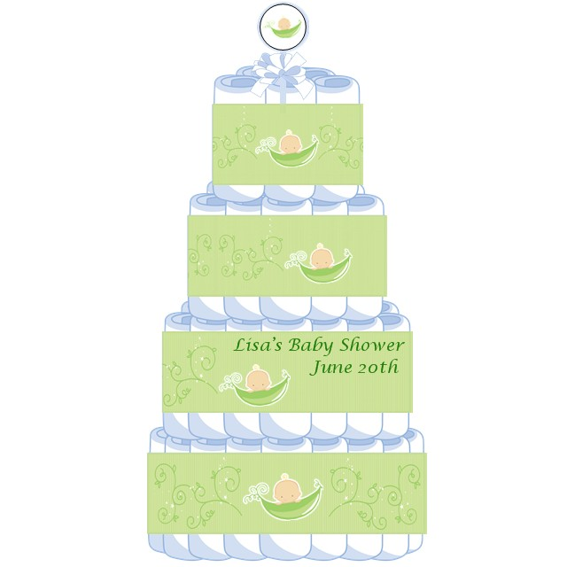 two peas in a pod caucasian baby shower diaper cake twins two peas