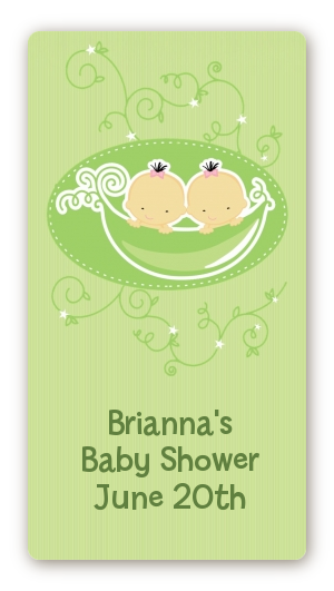 Twins Two Peas in a Pod Asian - Custom Rectangle Baby Shower Sticker/Labels Two Girls