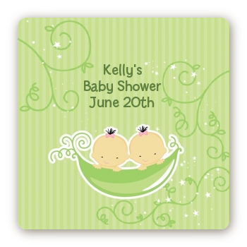 Twins Two Peas in a Pod Asian - Square Personalized Baby Shower Sticker Labels Two Boys