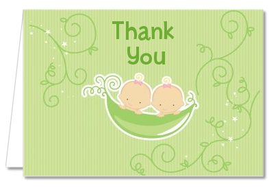 Twins Two Peas in a Pod Caucasian - Baby Shower Thank You Cards 1 Boy 1 Girl
