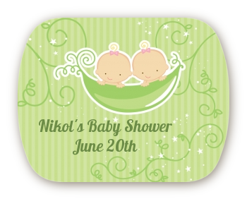 Twins Two Peas in a Pod Caucasian - Personalized Baby Shower Rounded Corner Stickers Two Boys