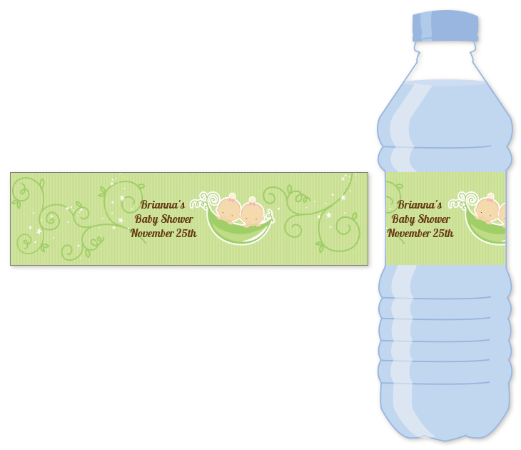 Twins Two Peas in a Pod Caucasian - Personalized Baby Shower Water Bottle Labels Two Boys