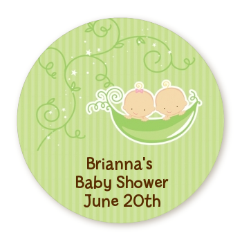 Twins Two Peas in a Pod Caucasian - Round Personalized Baby Shower Sticker Labels Two Boys