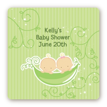 Twins Two Peas in a Pod Caucasian - Square Personalized Baby Shower Sticker Labels Two Boys