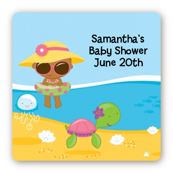 Beach Baby African American Girl - Square Personalized Baby Shower Sticker Labels