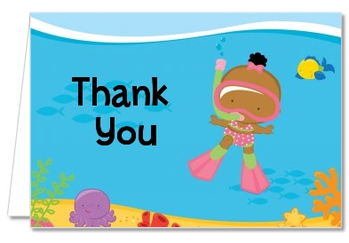 Under the Sea African American Baby Girl Snorkeling - Baby Shower Thank You Cards