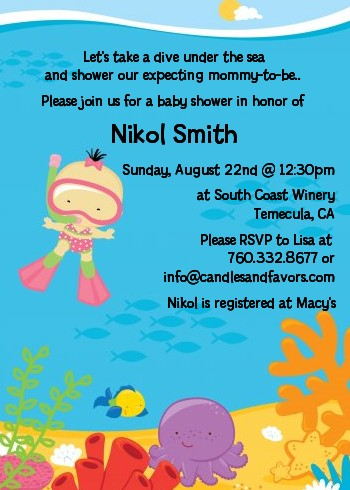 Under the Sea Asian Baby Girl Snorkeling - Baby Shower Invitations