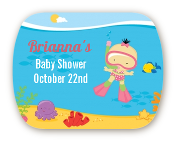 Under the Sea Asian Baby Girl Snorkeling - Personalized Baby Shower Rounded Corner Stickers