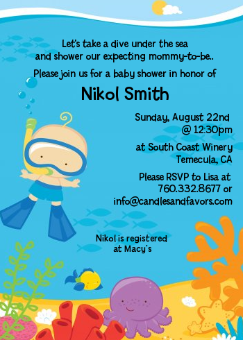under the sea baby boy snorkeling baby shower invitations, Baby shower