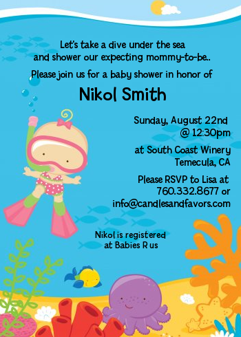 under the sea baby girl snorkeling baby shower invitations,